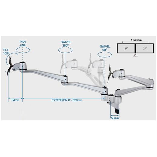 Infinite Dual Monitor Arm MR112 Dimensions