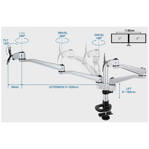 Infinite Dual Monitor Arm MR137 Dimensions