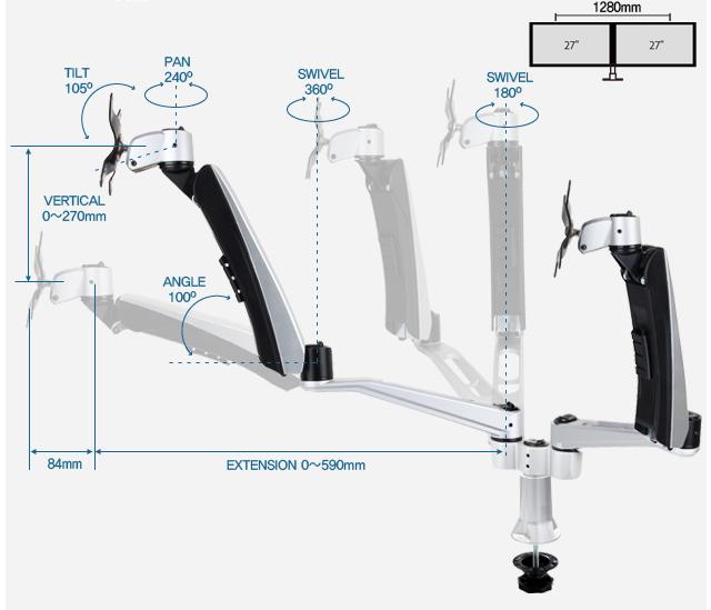 Infinite Triple Monitor Arm MR142 Dimensions