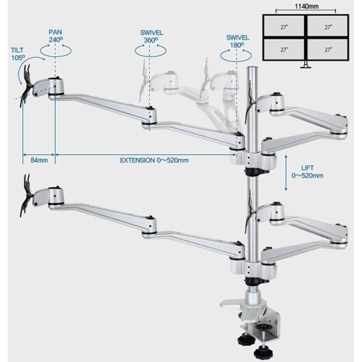 Infinite Four Monitor Arm MR160 Dimensions