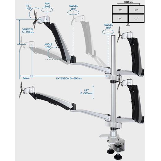 Infinite Four Monitor Arm MR165 Dimensions