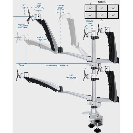 Infinite Four Monitor Arm MR175 Dimensions