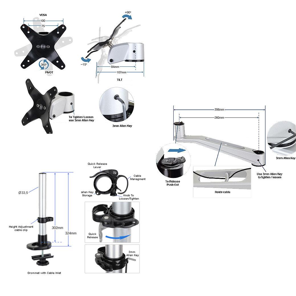 Infinite Monitor Arm MR136 Overall Specs