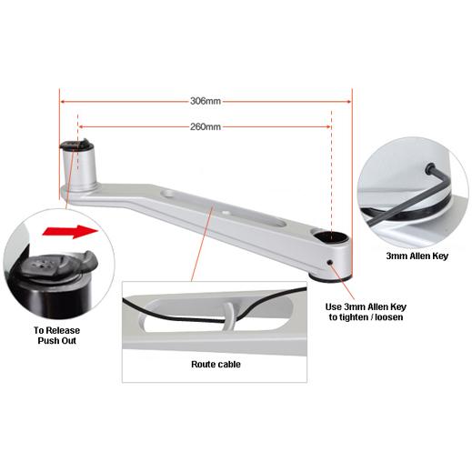 Infinite Single Monitor Arm MR117 Arm Dimensions