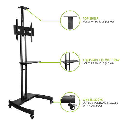 Mobile TV Stand Cart T2 Details