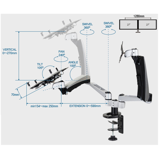 Infinite Monitor Arm MR132NB Dimensions