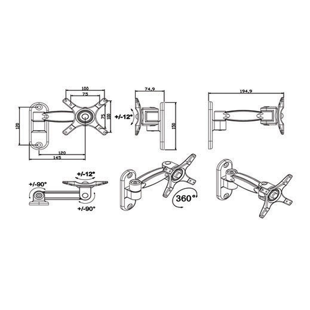 Trak Wall Mount Monitor Arm BD110SA Tech Specs